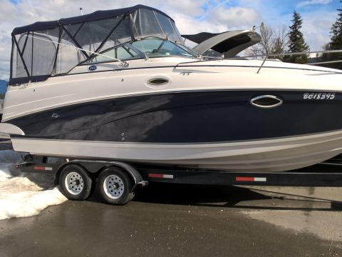 Navy Blue Rinker Gelcoat Restoration